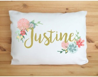 Personalized Pillow Name Pillow Accent Pillow Travel Pillow Unique Gift Idea Baby Pillow For Teens Flower Design Bridesmaid Gift Party Favor