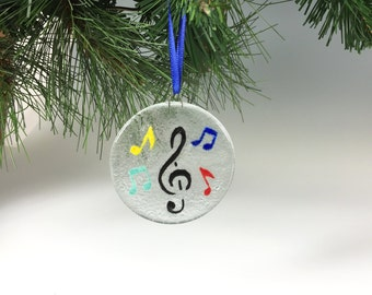 Music Ornament, Fused Glass, Musical Decor, Musical Notes, Glass Ornament