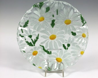 Daisy Bowl, Fused Glass, Dish, Candy Dish, Margarets, Daisies, White flowers