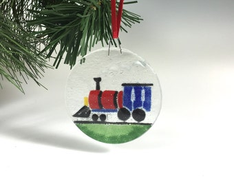 Train Ornament Fused Glass