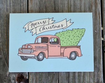 Christmas Card Set, Vintage Truck Holiday Card Set, Christmas Tree in Truck Holiday Card Pack