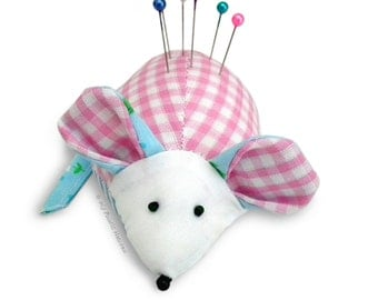 Cute Mouse Pin Cushion PRINTED Sewing PATTERN & Full Instructions, Make Your Own, Easy To Sew