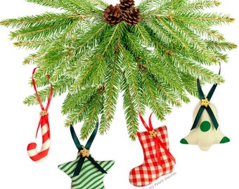 6 FABRIC Handmade Christmas Tree Decorations EASY Printed Sewing PATTERN & Instructions. Make Your Own