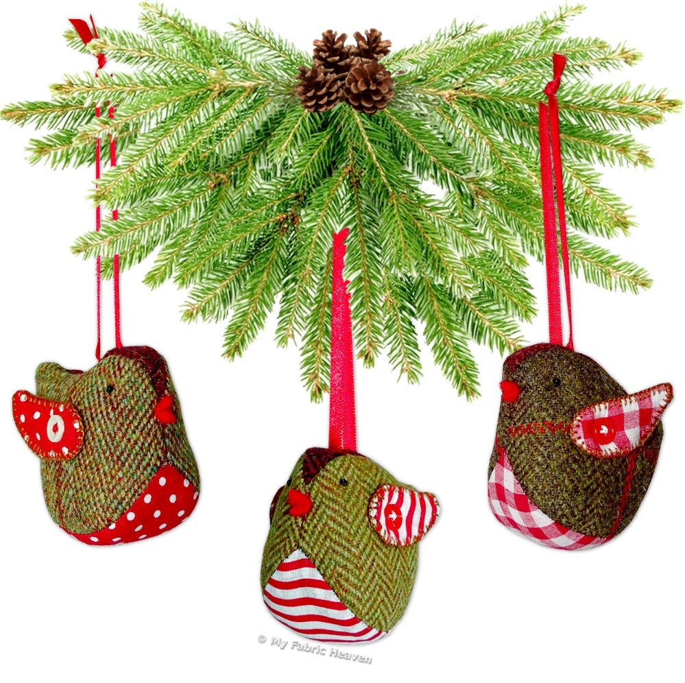 Red Robin Christmas Tree Decorations : Tweedy pie robin christmas decoration printed sewing pattern
