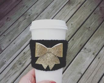 Custom Made Glitter Big Bow Crochet Coffee Cozy