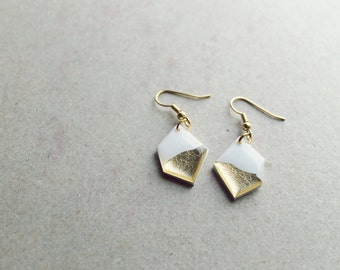 gold dipped earrings geometric dangle earrings simple earrings white and gold jewelry minimalist jewelry bold earrings contemporary jewelry