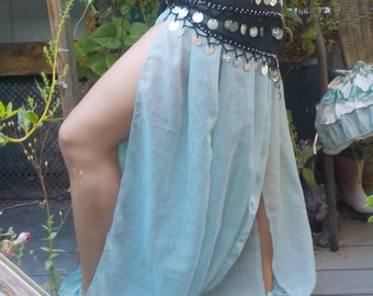 Seafoam semi transparent slit pantaloons- Burning Man- harem pants - Peek-a-boo ATS - Belly Dance pants -sensual-up-cycled - tease
