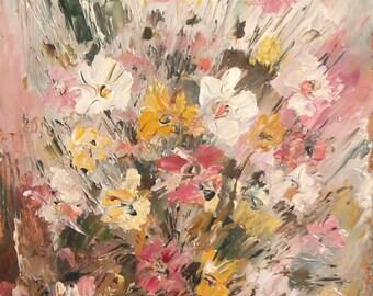 Impressionist floral still life vintage oil painting