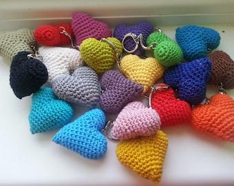 Handmade crochet heart keyrings key chains Valentine's Day