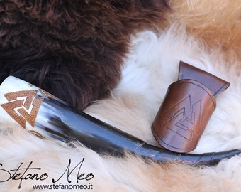 UNIQUE - Valknut - Norse drinking horn and horn-holder