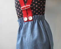 Upcycled recycled repurposed girls dress retro pinafore apron little girls dress red braces embroidered knit blue denim 5T birds flowers