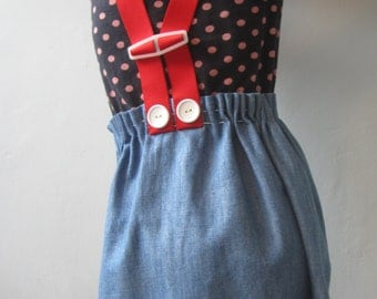 Girls dress upcycled pinafore apron dress retro little girls dress red braces embroidered knitted blue denim 5T birds flowers buttons funky