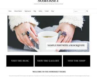 "Premade Wordpress Website Theme ""Somerset"" - Responsive Self-Hosted Wordpress Website and Blog Theme"