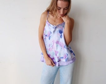 SALE! Pretty Satin lilac Camisole with Floral Print