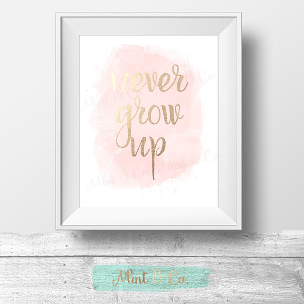 Never Grow Up Print Peter Pan Quote Girls Room Wall Art