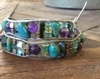 CatMar Rustic Artisan Beaded Turquoise, Amethyst, Abalone and Old Roman Glass Wrist Wrap  Bracelet on Silver Leather Cord