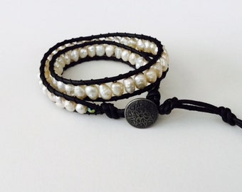 CatMar Beaded Freshwater Pearl Wrist Wrap Bracelet on Black Greek Leather Cord with Button/Loop Closure