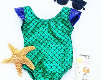 Mermaid Swimsuit - Mermaid Outfit - One Piece Swimsuit - Baby Girl Swimsuit - Smash Cake Birthday Outfit - Little Mermaid Birthday Outfit