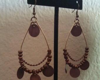 Steampunk copper disc dangle teardrop earrings