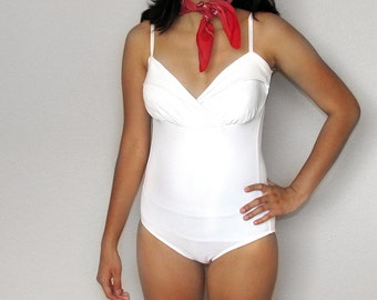 SALE - Marilyn Monroe Style White One Piece Swimsuit (Small-Medium)