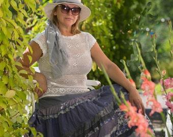 Boho  long skirt in light blue -white  colours.