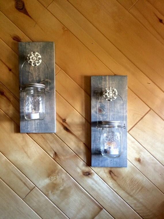 Redneck Wall Decor : Redneck sconces set of homedecor candles mason jars