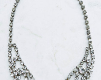 Vintage Rhinestone Bib Clear Crystal Necklace - Wedding