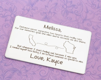 Long Distance Relationship - Long Distance Friendship - Wallet Card - Wallet Insert - Personalized Wallet Card - Engraved Jewelry