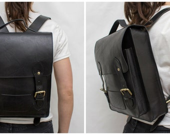 "Leather Backpack | Black | Scandinavia Inspired Simplicity | Front pocket | Festival Bag | Cycle Bag | Day Bag | Fit 13"" Laptop"
