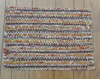 Richly Colored Rectangular Twined Rag Rug