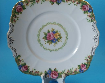 Paragon Tapestry Rose Cake Plate Double Stamped