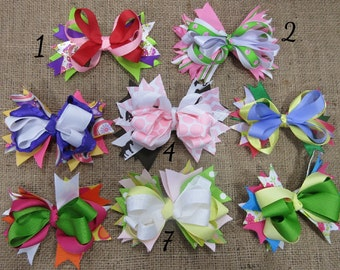 CLEARANCE Stacked Spiked Boutique Hair Bows, Over the Top Hair Bow, 4 Inch Boutique Hair Bow