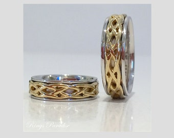 couples rings set wedding bands set wood inlay by
