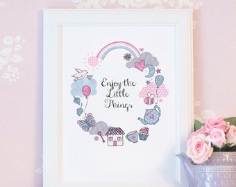 Cute Inspirational Quote Print - Enjoy the Little Things Collection - A4/A5 Pastel Nursery Art