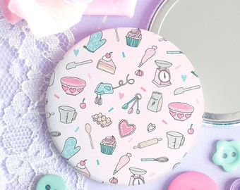 Baking Pattern Pocket Mirror - Those Who Bake Collection - Gift for Bakers