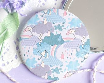 Rain Cloud Pocket Mirror - Look For Rainbows Collection - Weather Pattern