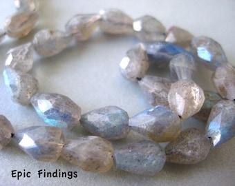 Labradorite Faceted Teardrop Gemstone Beads, Jewelry Craft Supply, Labradorite Teardrop Beads, Epic Findings