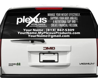 """Rear Window Plexus Worldwide Personalized Custom One Color Decal Up To 23"""" Tall 73772AO, 73773AO"""