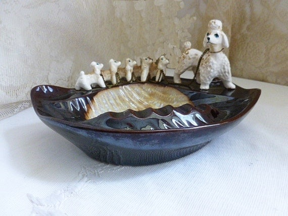 Vintage 1950s Poodle Amp Puppies Ashtray Made In Japan Mid