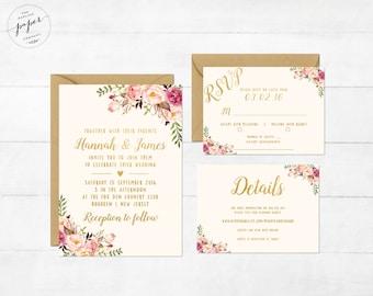 Florales de la boda invitación imprimible Boho invitación Suite Vintage boda invitan Floral boda peonías colección primavera-verano