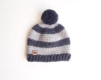 Striped Toddler Beanie, Toddler Hat, Customizable Hat, Crochet Beanie, Striped Beanie, Pompom Beanie, Knit Beanie, Toddler Crochet Hat