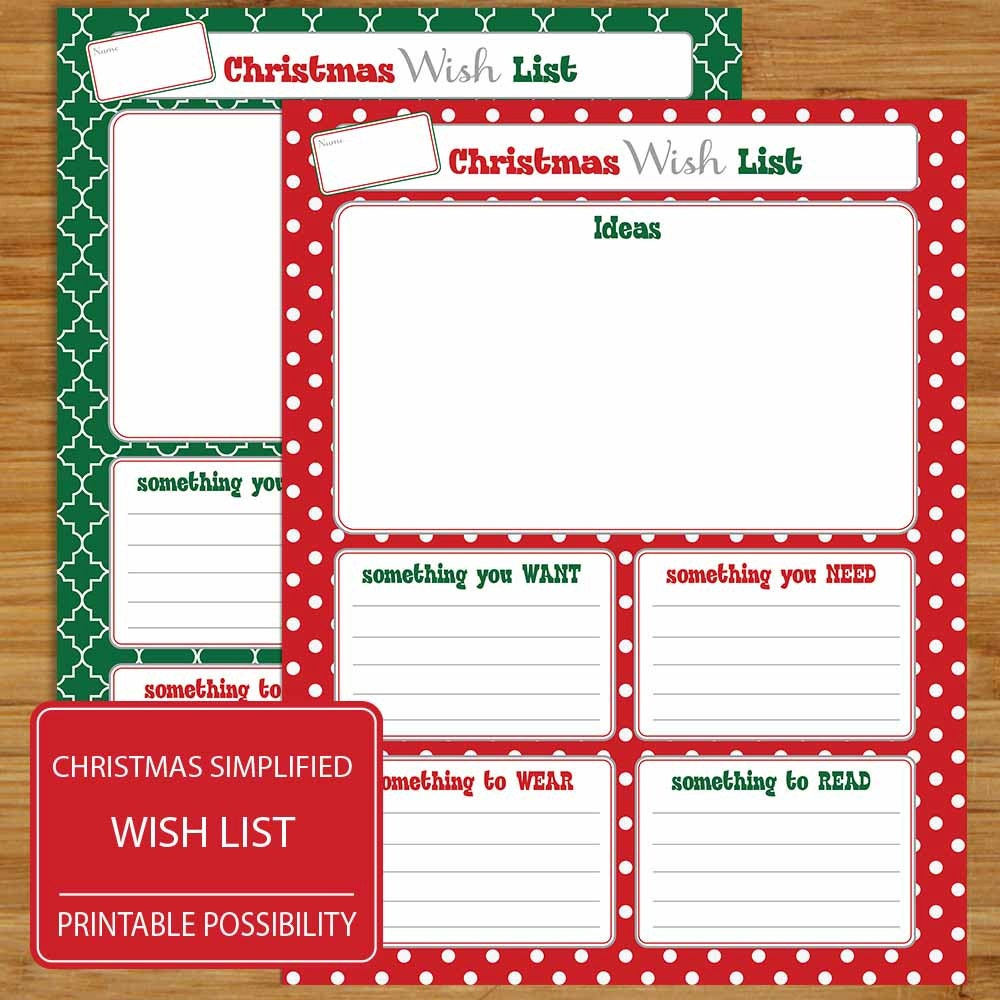 Christmas Wish List Two Lists One Red Background One