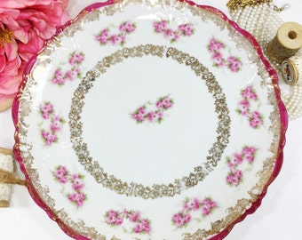 Austrian Wallendar Pink Rose Porcelain Plate, Display Plate, Wall Decor, Dinnerware, Cake Plate, Shabby Chic #A15