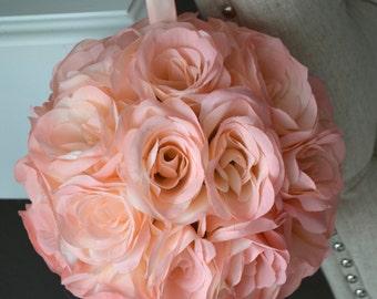 "Premium soft silk Pink Blush flower ball, WEDDING CENTERPIECE, wedding pomander kissing ball, flower girl 7"" 8"" 10"" 12 14"" 16"" 18"""