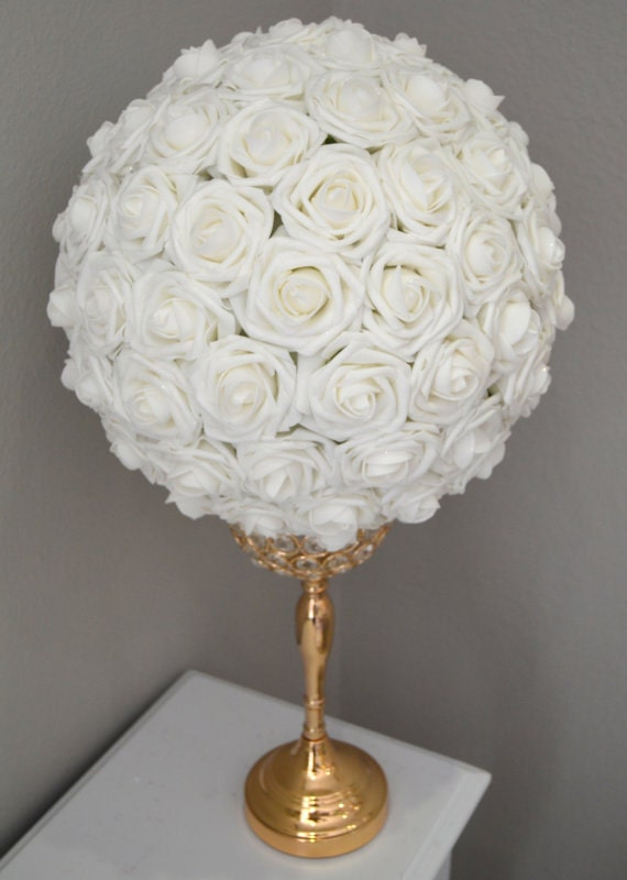 White shimmering flower ball wedding centerpiece pomander