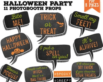 Halloween bubble speech party Photo booth props set - printable, photobooth, scary party - PDF, INSTANT DOWNLOAD