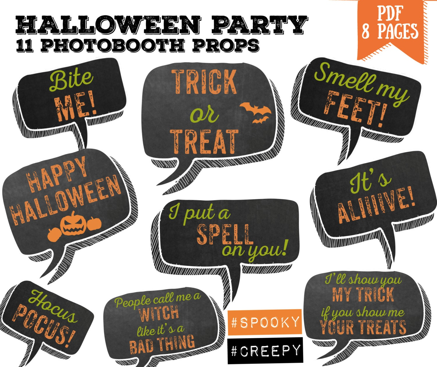 Halloween bubble speech party Photo booth props set