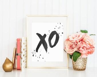 XO print, printable art xo wall art home decor typography print hugs and kisses print black and white watercolor modern instant download