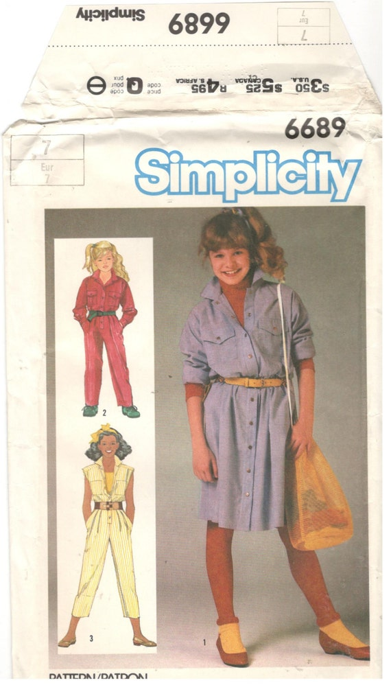 Simplicity 6689 Size 7 Girl 39 S Sewing Pattern Button Down