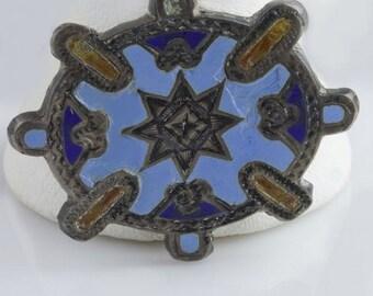 Antique petite enamel and silver Victorian pin. (pnvc1044)